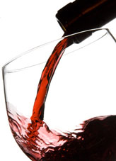 Filling wine glass