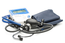 Blue modern stethoscope and pressure monitor on a white background